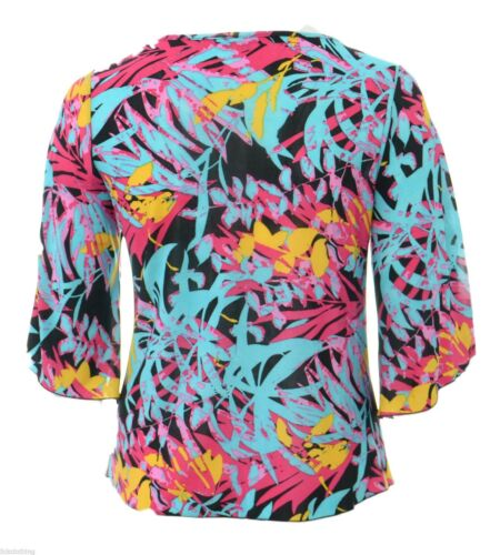 Womens Flared Sleeve Stretch Black Multi Coloured Floaty Top Ladies New