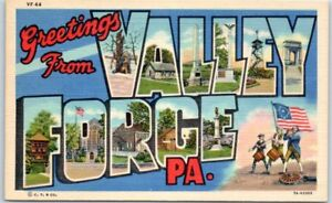 VALLEY-FORGE-Pennsylvania-Large-Letter-Postcard-Multi-View-Curteich-Linen-c1940s