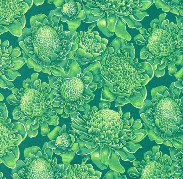 FF Sunburst Tropical flowers medium green fabric fq 50x56 cm F894-9 100% Cotton