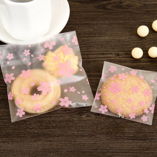 100PCS//Lot Lovely Pink Cherry Blossoms Cookie/&Candy Bag Self-Adhesive Bags  S/&K