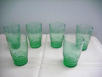 Vintage Drinking Glasses - Set of 6 - Green