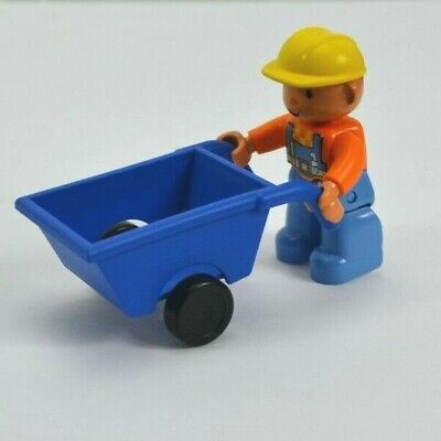 Lego Duplo Bob the Builder Figure with Wheelbarrow Construction Hard Hat Man