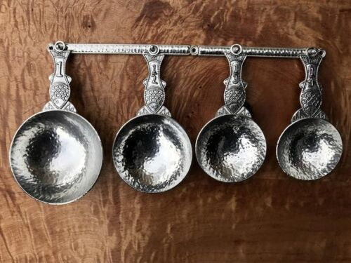 Crosby and Taylor Pewter Fish Measuring Cups with Wall Strip New