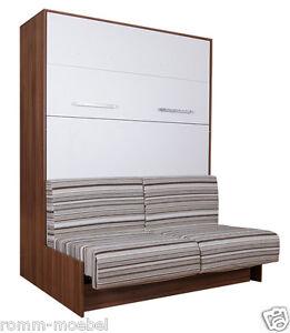 schrankbett wandbett klappbett sofa classic 140x200 cm holz kernnussbaum weiss ebay. Black Bedroom Furniture Sets. Home Design Ideas