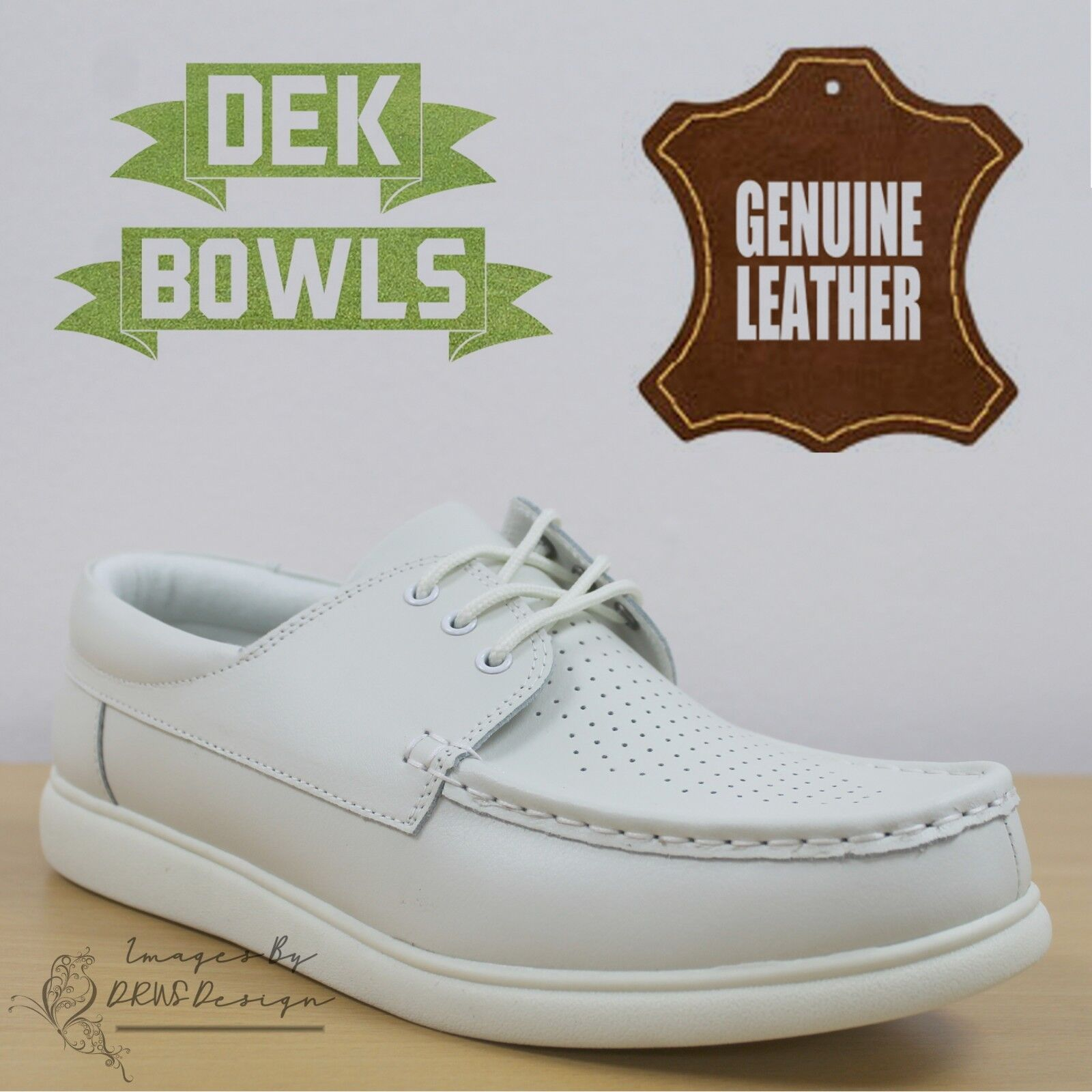 DEK Bowls Unisex Leather Lawn Bowls Trainers White Lace Up Men's & Women's shoes
