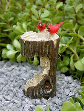 Miniature Dollhouse FAIRY GARDEN ~ Mini Tree Stump Bird Bath w Cardinals ~ NEW