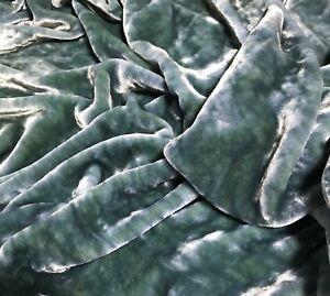 Hand Dyed PEAR GREEN Silk VELVET Fabric