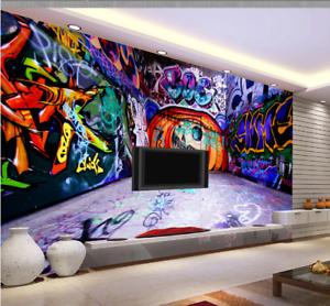 Image is loading 3D-Blue-Graffiti-Wall739-Wallpaper-Mural-Paper-Wall- & 3D Blue Graffiti Wall739 Wallpaper Mural Paper Wall Print Wallpaper ...