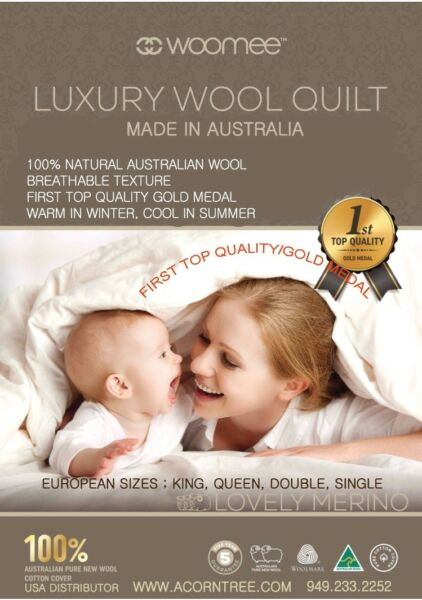 # 1 Gold Award, Australian Woomee Luxury 100% New Wool Duvet/comforter: Queen