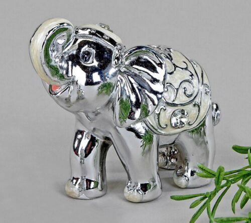 "Deko Figur Elefant ""Pearl-Silber"" 8cm ca"