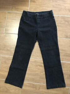 Washed-Black-Pull-On-Stretch-Bootcut-Jeans-Elastic-Waist-Katies-Size-12-Mid-Rise