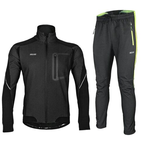 Men Winter Cycling Jacket Set Windproof Thermal Bicycle Pants Bike Suit Clothing