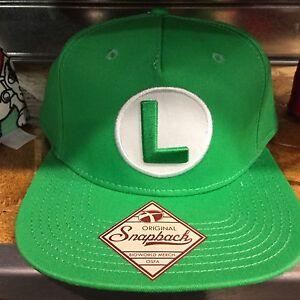 Super Mario LUIGI SnapBack Hat. Brand New. One Size Fits All ... 2458f3af5ce1
