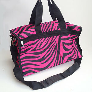 Image Is Loading Hot Pink Zebra Duffle Gym Bag Sports Carry