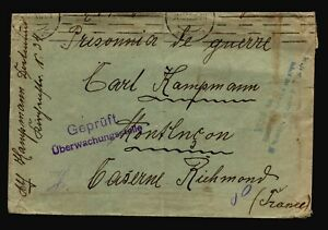 Germany-1915-POW-Cover-to-France-Fold-Edge-Creasing-Z14434