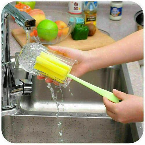 3Pcs Kunststoff Weinglas Flaschen Schalen Schwamm Bürstengriff Kitchenreini A9P0