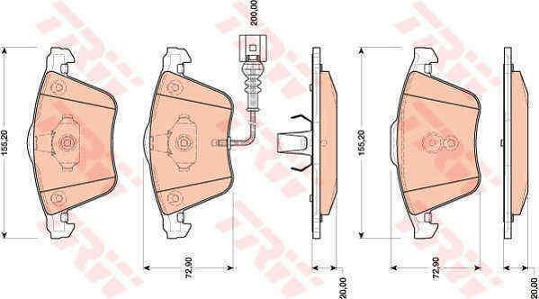 TRW Set Almohadillas Freno Delantero GDB1809 - Nuevo - Original-5 Años de