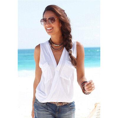 Summer Women Sleeveless V Neck Vest Ladies Casual T Shirt Beach Tops Blouse Sexy