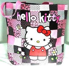 HELLO KITTY Bag PINK Black Patchwork SANRIO Carryall Cat Kitten Tote Bookbag