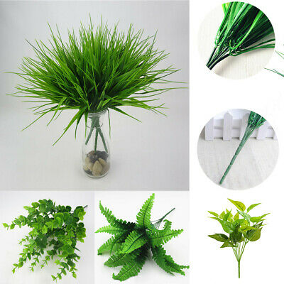 Home Wedding Decor Office Artificial Plant Green Grass Fake Leaf Foliage Bush