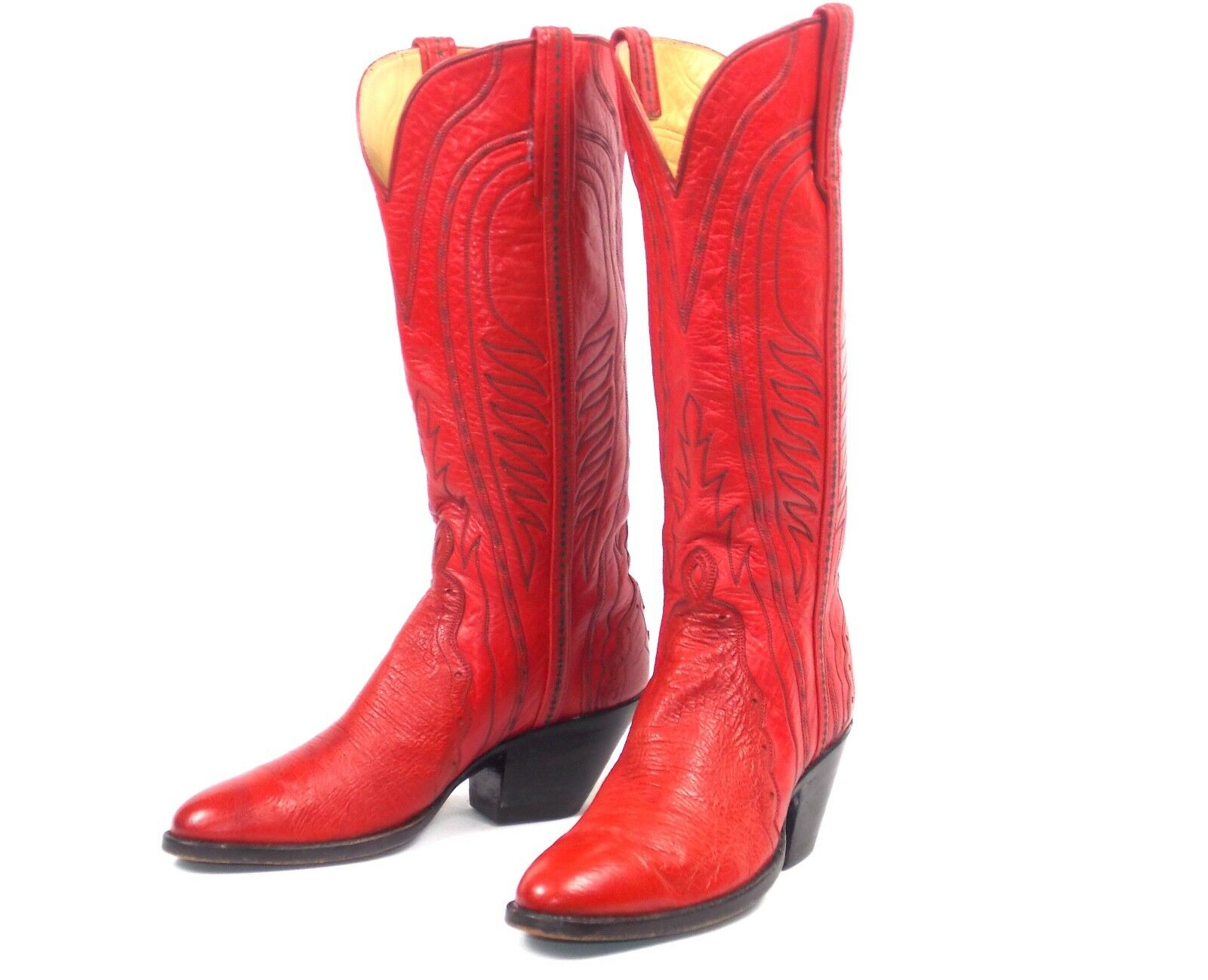 Custom Red Cowboy Boots - Wms Size 6B Tall Heel - Round Toes Triad T.O. Stanley