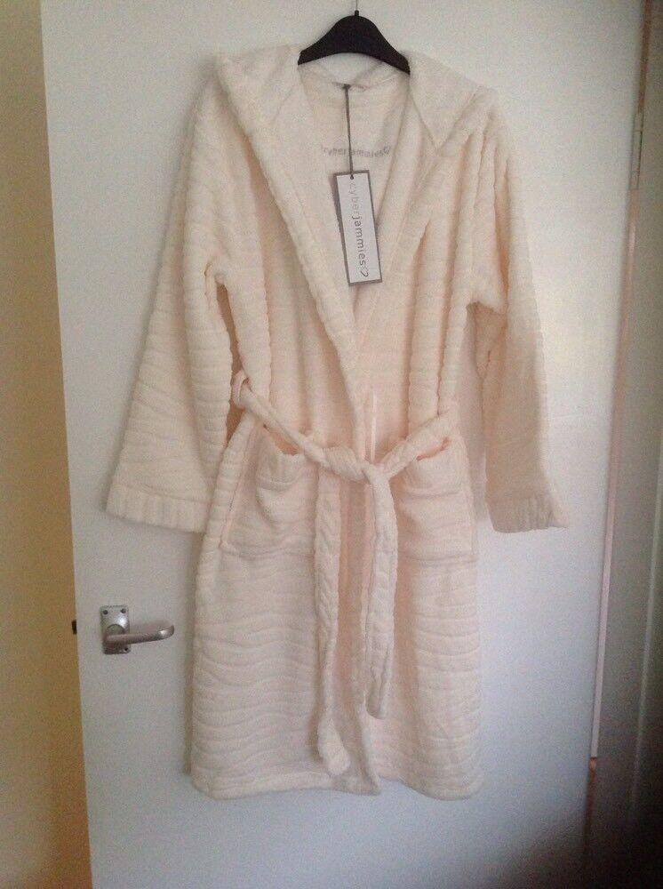 CYBERJAMMIES LADIES CREAM DRESSING GOWN SIZE MEDIUM 12-14 BNWT
