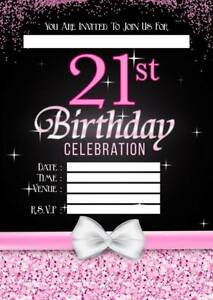 Image Is Loading 21ST BIRTHDAY PARTY INVITATIONS INVITES PINK SILVER LADIES