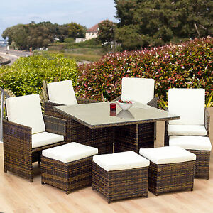 Cube Rattan Garden Furniture Set Chair Table Patio