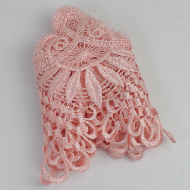 3 Yards Pink Fabric Polyester Applique Venise Lace Trims Sewing Craft DIY