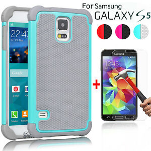 For-Samsung-Galaxy-S5-Case-Armor-Hybrid-Rugged-Hard-Cover-Glass-Screen-Protector