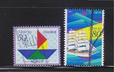 JAPAN 1996 MARITIME DAY ESTABLISHMENT COMP. SET OF 2 STAMPS SC#2530-2531 IN USED