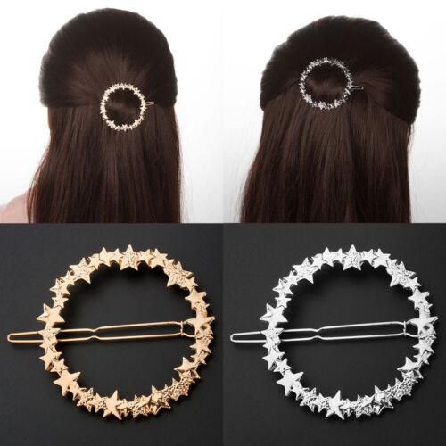 Simple Gold Silver Hollow Circle Star Hair Clip Hairpin Barrette Hair Accessory