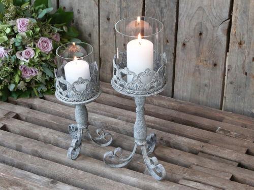 Chic Antique Windlicht 37cm am Fuß Zinke Metall Laterne Kerze vintage und shabby