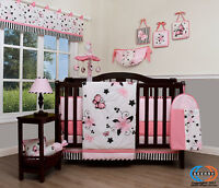 15PCS New Pink Butterfly Baby CRIB BEDDING SET -Including Mobile and Lamp SHADE