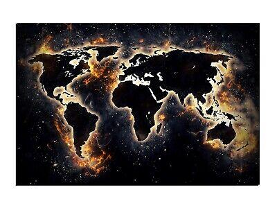 Alu-Dibond Wandbild WORLD ON FIRE WELTKARTE Globus AB-837 Butlerfinish®