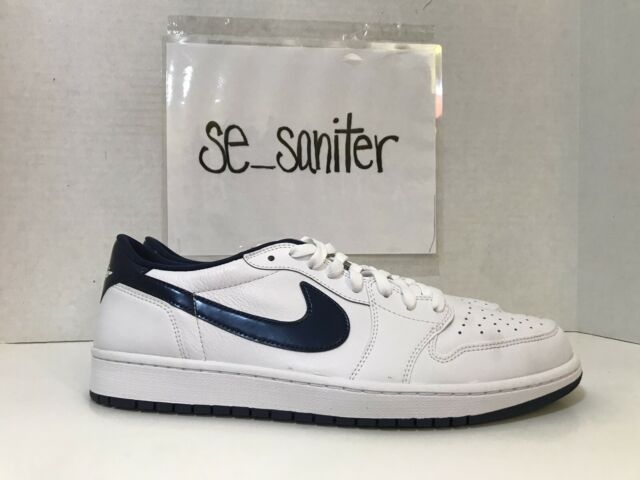 the best attitude ebada 240e1 Nike Air Jordan 1 Retro Low OG Metallic Blue White Navy 705329-106 Size 12