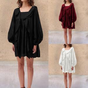 Women-Long-Sleeve-Bohemian-Smock-Tunic-Dress-Ruffle-Loose-Beach-Top-Plus-Size-UK