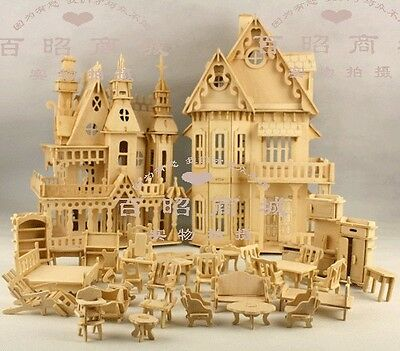 2Xwooden dollhouse doll wood house with 34Furniture kit
