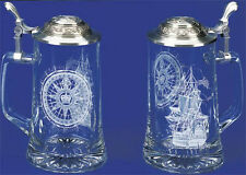 German Nautical Sailing Ship Compass Etched Glass Beer Stein, Anchor Pewter Lid