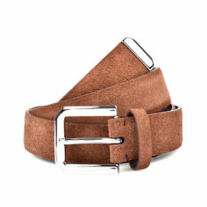 Brunello Cucinelli Mens Beige Leather Suede Belt W//Round Silver Buckle 85-110cm