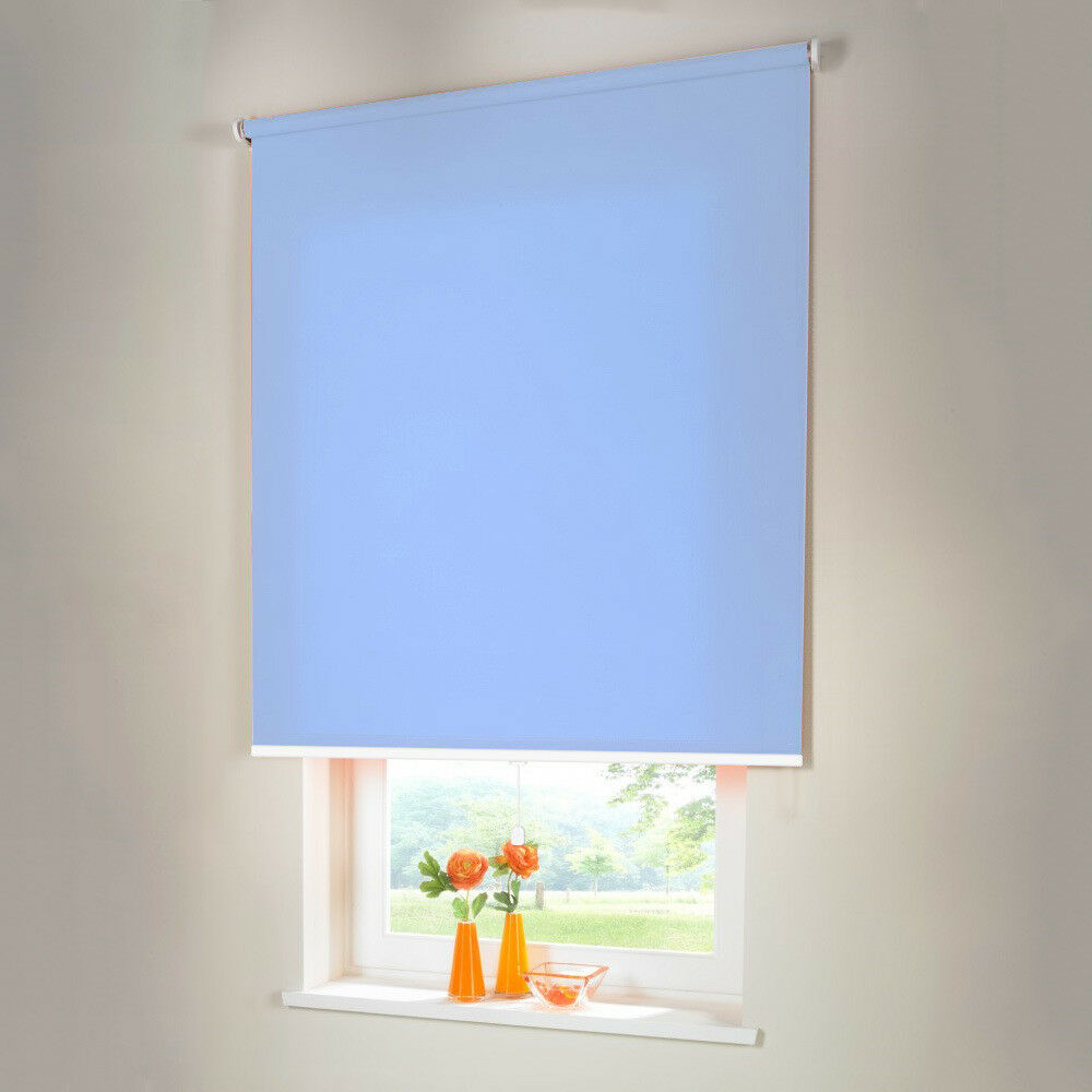 Sichtschutzrollo Mittelzugrollo Springrollo Rollo - Höhe 130 cm hellblau   Spielzeug mit kindlichen Herzen herstellen    Verschiedene Stile    Modisch