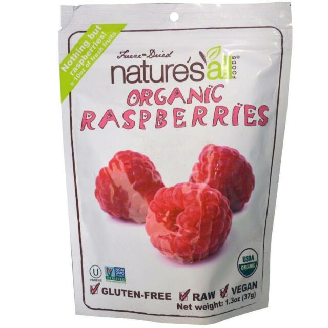 8 X All Organic Raspberries Freeze-dried by New Nature's Gluten Free Vegan