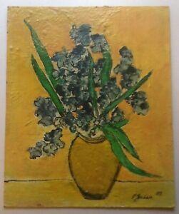 Tableau-original-d-039-apres-Van-GOGH-Bouquet-d-039-Iris-sur-fond-Jaune-Huile-Signee