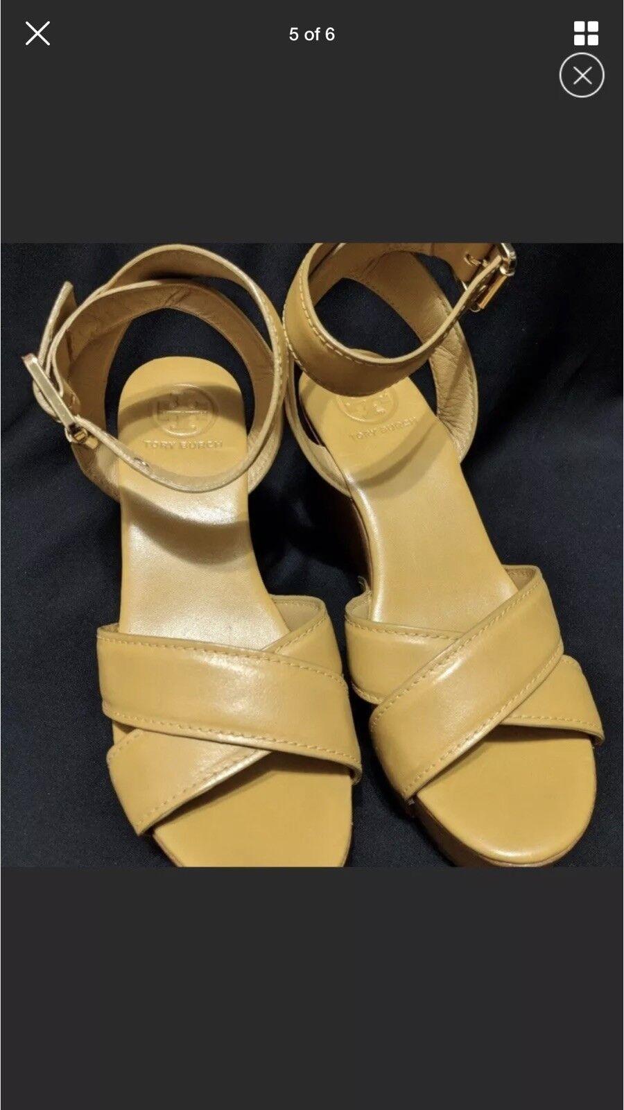 Tory Burch Yellow Almita Wooden Wedge Sandals 7