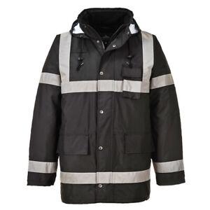 Rain-Jacket-100-Waterproof-Lite-Bomber-Coat-Hood-Work-Reflective-Hi-Vis-US433