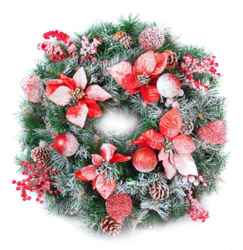Mejor Artificial 60 cm Helado Rojo Decorado Navidad Guirnalda Luces LED al aire libre