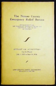 Long Island Bureau.1936 Long Island Nassau County Emergency Relief Bureau Depression