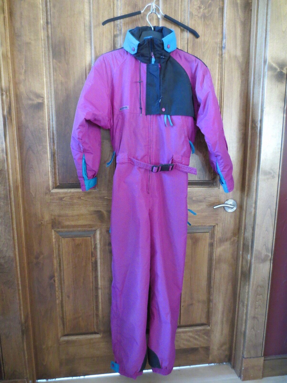 Vintage Columbia Magenta Purple Womens Medium Snow Ski Suit Bib One Piece Neon