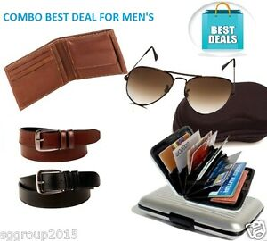 COMBO'S OFFER WALLET- LEATHER BELT- SUNGLASSES-CARD HOLDER FOR MEN'S SGG