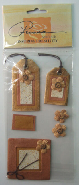 ~GOLD & BROWN FLORAL TAGS~ Embellishments Prima Marketing; FALL AUTUMN flowers